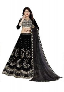 BRAND JUNCTION Women's Silk Semi-Stitched Lehenga Choli - Black