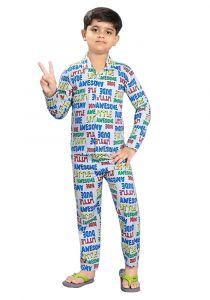 Bonnitoo Hydes Printed Boys Kids Night Suit Super Soft Nightwear