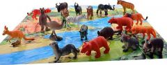 World of Needs 20 Pcs Wild Animals Set (Medium Size) - Learning and Educational Toy + Made of Rubber + Non-Toxic (Multicolor)