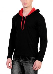 Fashion Gallery Men's Cotton Hooded T-shirt|Full Sleeve T-shirts for Men | V-Hood T-shirt, Medium