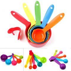Krivish Colorful Plastic Measuring Cup & Spoons For Kitchen Cooking and Baking - (Set of 10)
