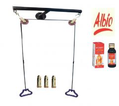 Albio Metal Wall Mounting T Shoulder Pulley Set For Exercise (Black)
