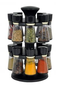 Khodiyarfashion Premium 16 Piece Multipurpose Revolving Plastic Spice Rack Storage Jar Condiment Set (Black), 100 ml