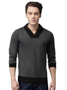 Fashion Gallery Men's Charcoal V-Neck Full Sleeves Cotton Tshirt|Tshirts for Men
