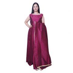 BCZ Style Women Art Silk Pink Crop Top With Skirt & Dupatta