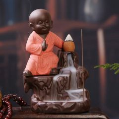Junction Craft Smoke Fountain Buddha with 10 Incense Cones/Orange/Gift/Home