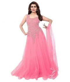 BRAND JUNCTION Women's Net Embroidery Designer Semi-stitched Gown - Pink
