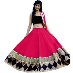 BRAND JUNCTION Women's SOFT NET Semi-Stitched Embroidered Lehenga Choli With Dupatta - Red