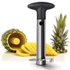 Khodiyarfashion Stainless Steel Pineapple Cutter and Fruit Peeler Slicer (Silver Black)