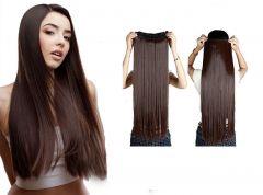 Akashkrishna Women's 24 Inch Clip In Hair Extension (Brown)