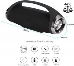 RSFuture Boombox Max Powerful Bass Portable Wireless Bluetooth Speaker with Splash Proof Sub Woofer Loudspeaker TF MP3 in-Built Mic