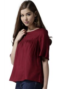 BRAND JUNCTION Women's Solid A-Line Top With Short Bell Sleeve Pattern - Maroon