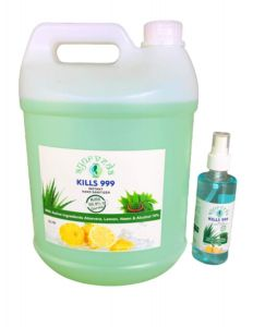 Kills 999 Zenes Biotech's Pure Safe Instant Hand Sanitizer & Disinfectant liquid with Guaranteed Ethyl Alcohol, Lemon, Neem and Aloe Vera Extracts for Handrub(5L)+200ml sanitizer with spray