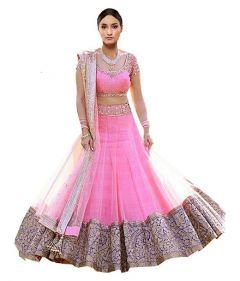 BRAND JUNCTION Women's Silk Semi-Stitched Beautiful Lehenga Choli - Pink