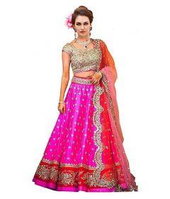 BRAND JUNCTION Women's Art Silk Semi-Stitched Lehenga Choli - Pink