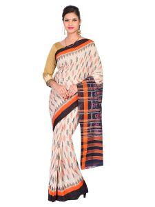 Bodybandha Handloom Womens Maniabandhi Sambalpuri Ikat Cotton Saree -  Tasar/ Black/ Orange