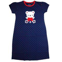 Babydoll - Self Printed Girls Kids Nighty Nightdress Super Soft Nightwear Cotton Hosiery One Piece Nighty for Girls - Blue