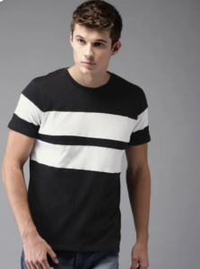 White and Black Color Pattern Round Neck Half Sleeves Cotton Tees For Men's