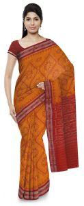 Bodybandha Handloom Womens Maniabandhi Sambalpuri Ikat Cotton Saree -  Yellow/Red