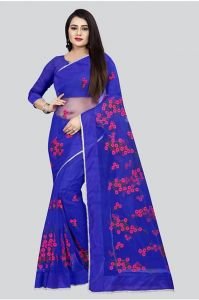 Aaradhya Fashion Presenting Designer Banglori Silk Heavy Net with Embroidered Floral Work Saree and Matching Color Blouse Piece for Women's