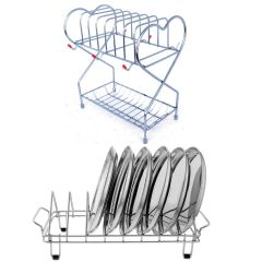 Prabhed Stainless Steel 6 Cup & Saucer Stand | Dish Rack for Kitchen and Office Pantry (Pack of 2)