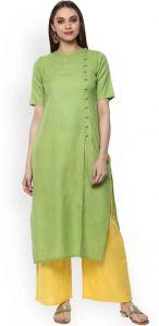 Women Solid Pure Cotton Straight Kurta(Green)
