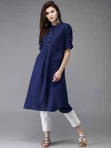 Women Solid Pure Cotton Straight Kurta(Blue)