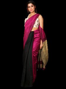 Handloom Soft Khadi Saree With Blouse Piece - White/Pink