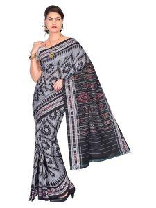 Handloom Women's Sambalpuri Ikat Cotton Saree Without blouse piece - Black/White