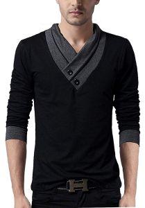 Fashion Gallery Full Sleeves Men's Cotton V-Neck Men's T-shirt (Large)