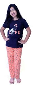 Babydoll - Self Printed Girls Kids Night Suit Super Soft Nightwear Cotton Hosiery Top and Payjama Set, Night Suit Full Pant Set for Girls Age-6-8 -10