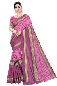 JANKISILKMILL Women's Banarsi Cotton Silk Saree With Blouse Piece - Pink
