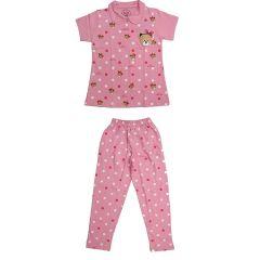 Babydoll - Self Printed Girls Kids Night Suit Super Soft Nightwear Cotton Hosiery Top and Payjama Set - Pink