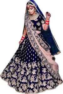 BRAND JUNCTION Women's Silk Semi-Stitched Lehenga Choli - Navy Blue