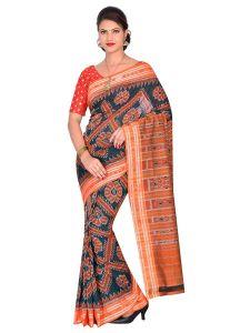 Women's Handloom Sambalpuri Ikat Cotton Saree Without blouse piece- Orange/Green