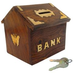 Wooden Money Bank Home Style Black Kids Piggy Coin Box Gifts (Handicrafted)