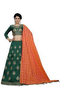 BRAND JUNCTION Women's Silk Semi-Stitched Lehenga Choli - Dark Green