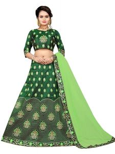 BRAND JUNCTION Women's Silk Semi-Stitched Weightless Lehenga Choli - Green