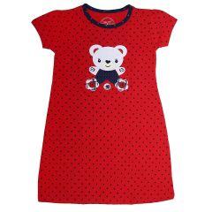Babydoll Hydes Girls Kids Nighty Nightdress Super Soft Nightwear Cotton Hosiery One Piece Nightie for Girls - Red