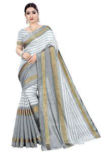 BRAND JUNCTION Women's Banarsi Cotton Silk Saree With Blouse Piece - White