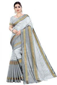 JANKISILKMILL Women's Banarsi Cotton Silk Saree With Blouse Piece - White