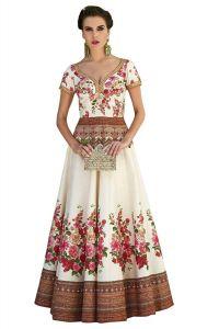 BRAND JUNCTION Women's Silk Semi-Stitched Lehenga Choli - White