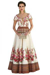 JANKISILKMILL Women's Silk Semi-Stitched Lehenga Choli - White
