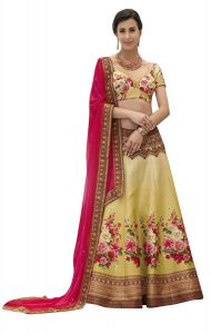 BRAND JUNCTION Women's Silk Semi-Stitched Lehenga Choli - Yellow