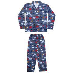 Bonnitoo Hydes Self Printed Boys Kids Night Suit| Super Soft Cotton| Nightwear Full Sleeves Set