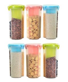 Khodiyar Fashion Storage Jar with 3 Section (Set of 6-1500 ml Each)   Plastic AIRtight Dispenser Container Box (Transparent)   (Colour May Vary)