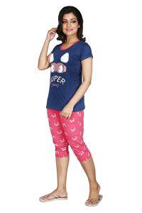 Babydoll Women's Night Suit & Night Shirt | Night Dress with Print | Cotton Hosiery Night wear | Top and Capri Set with Half Sleeve | 2 Pcs Night Suit/Night Wear - Top with Capri