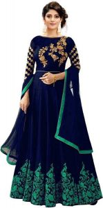 BRAND JUNCTION Women's Satin Semi-Stitched Gown - Blue & Green