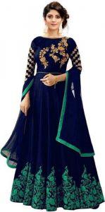 JANKISILKMILL Women's Satin Semi-Stitched Gown - Blue & Green