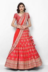 BRAND JUNCTION Women's Silk Semi-Stitched Party Wear Lehenga Choli - Red